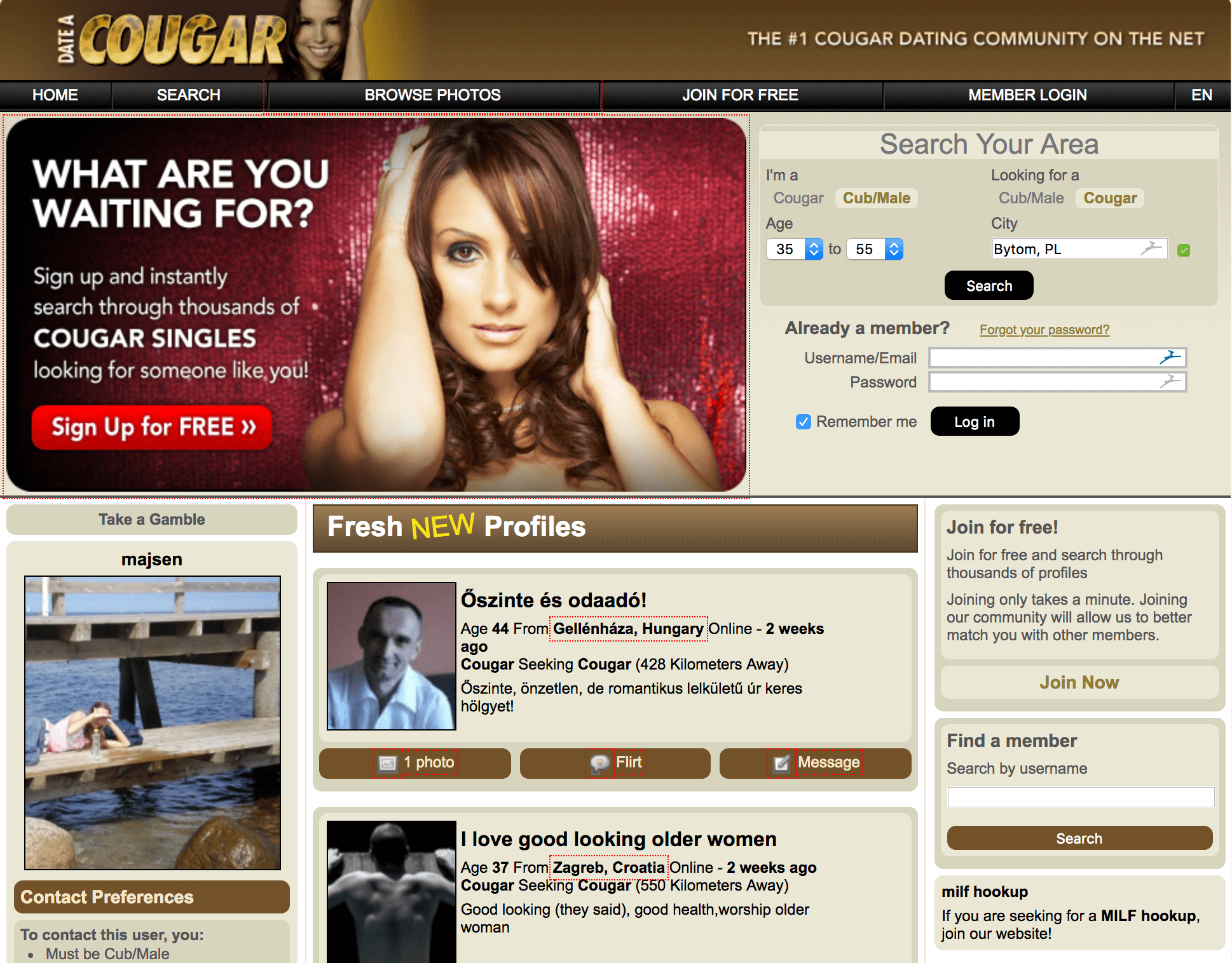 Find Cougars Free
